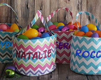 Easter Baskets for Boys and Girls Personalized Fabric East Basket Chevron Print Pink Blue White Name in Glitter or Regular Egg Hunt Basket