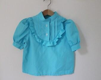 Soviet Girls Top, Vintage Light Blue Shirt  Short Sleeves Top, Made in USSR. Size 110 = Child Size 5