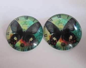 2 round 20 mm printed Butterfly glass cabochons