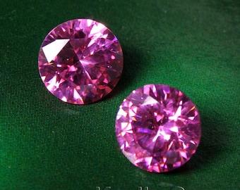 AAAAA Quality 10mm Round Cubic Zirconia CZ Diamond Brilliant Cut - Pink Rose - 2pcs