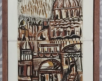 Robert Raizman Original 1974 Tile Art - An Ein-Reb Art Piece