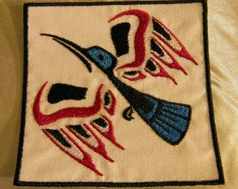Embroidered Pacific Northwest Art Hummingbird In Flight Bird Patch Iron On Sew On USA