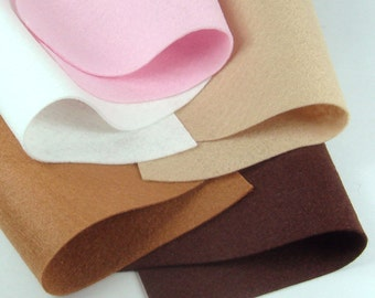 5 Colors Felt Set - Cream Chocolate - 20cm x 20cm per sheet
