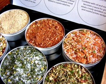 Gourmet fish and seafood rubs kit. A great gift for the grilling guy.