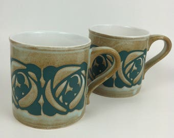 Vintage Pair of Stoneware Mugs - Kiln Crafts - Staffordshire Potteries - Made in England