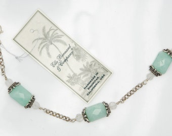 Amazonite, Moonstone, and Sterling Silver chain bracelet ~ A CALM SEA