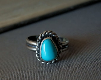Fox turquoise ring / sterling and turquoise ring / boho style silver ring / turquoise jewelry / December birthstone jewelry / turquoise ring
