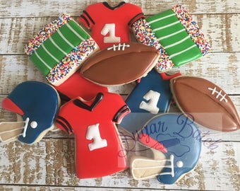 1 dozen Regular Football Themed Decorated Cookies Set