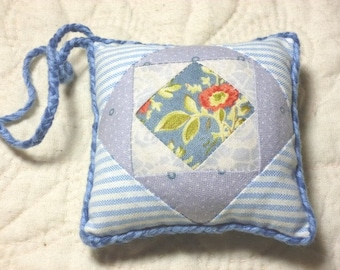 Small blue Patchwork PINCUSHION