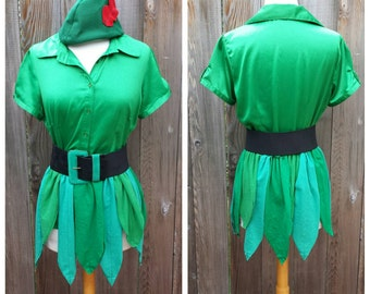 Upcycled Custom Peter Pan Costume,  (Green Skirt/Kilt; Blouse, Hat and Belt) Lost Boys Tinkerbell and Friends, Custom made, Adult Size