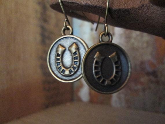 Metal Earrings, Horseshoe Earrings, Good luck Earrings, Brass Earrings, Luck Earrings, St. Patrick's Day
