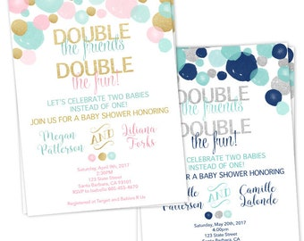 Joint baby shower etsy double baby shower invitation for a boy and a girl light teal pink and filmwisefo Images