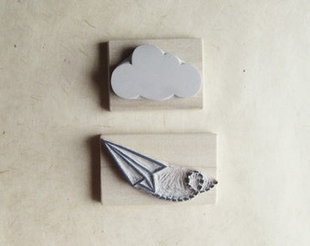 Paper Plane and Cloud Rubber Stamp Set Air Mail Hand Carved