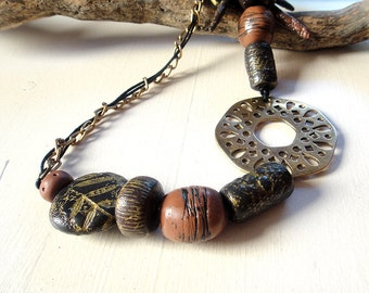 Mixed Media Statement Necklace. Artisan,  Rustic, Boho, Ethnic Modern in Brass, Black, Cinnamon.  Length 37 cm