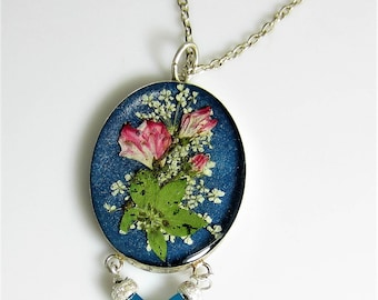 Sterling Silver Pendant, Real Flowers in Resin, Swarovski Crystals and Sterling, Pressed Flower Necklace  (without chain) (2057)