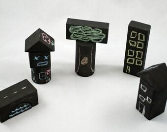 Wooden building blocks, chalkboard blocks, Montessori toy, Montessori toddler, preschool learning toy, Waldorf toy, travel toy, pretend play