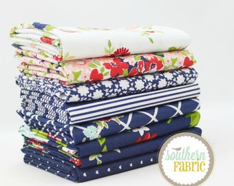 """The Good Life - Navy - Fat Quarter Bundle - 8 - 18""""x21"""" Cuts - Bonnie and Camille - Moda Quilt Fabric"""