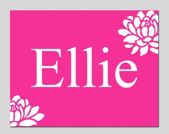 Baby Girl Nursery Decor - Floral Name Print - Kids Wall Art for Nursery - Choose Your Font with Flowers - Choose Your Size and Colors