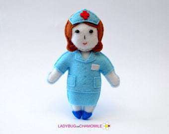 Felt NURSE, stuffed felt Nurse magnet or ornament, Nurse toy,People,Professions,Doctor magnet,Nursery decor,Nurse doll,Nurse ,Felt Doll