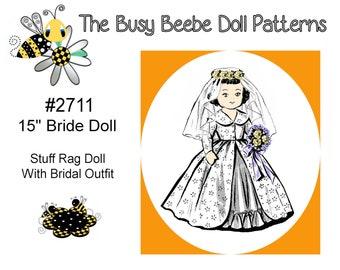 "15"" Vintage Stuffed Bridal Rag Doll Pattern - #2711"