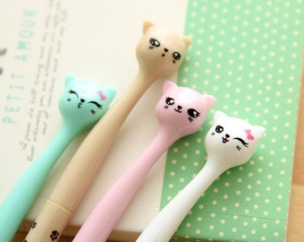 Set of 4 Cat Pens / Very Cute and Pretty Cat Pens in 4 Different Colours / Kitty Cat Pens