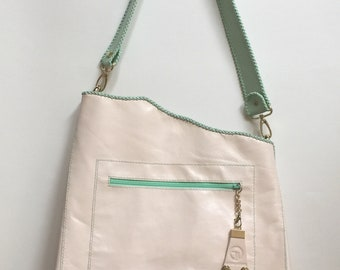 Handmade leather tote in Blush/Mint, leather shoulder bag, all purpose leather bag
