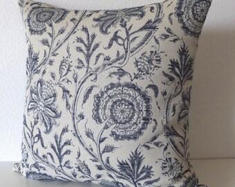 Indigo Blue Floral Pillow Cover