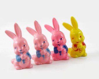 Vintage Easter Decorations, Irwin Plastic Bunny Rattles, Pink Easter Bunny Toys