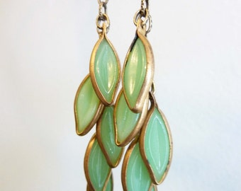 Cascading Leaves Earrings, Green Leaf Bead Earrings, Rare Vintage Glass and Gold Brass, Organic Nature Jewelry, Boho