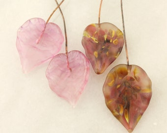 Lampwork Headpins, Glass Leaf Head Pins,  Headpin on 20Ga Antique Copper Wire, Matte  Pink,