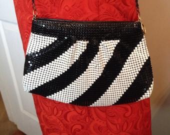 Black and white cross body purse