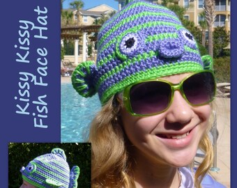 Fish Hat Crochet Pattern Kissy Fish Face for boy, girl tween, teen, toddler crochet hat pattern  INSTANT pdf DOWLOAD BONUS Crazy Frog Hat