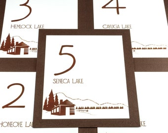 Lake Cabin Table Number Wedding Decor Reception Sign Cards Made to Order Mountain Camping Outdoor Rustic