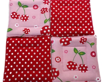 Hostess Gift, Cherry Coaster, Quilted Coaster Set, Cherry Coaster Set, Wedding Gift, Cherry Drink Coaster, Drink Coaster, Beverage Coasters,