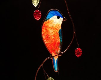 Bluebird with Berries stained glass suncatcher