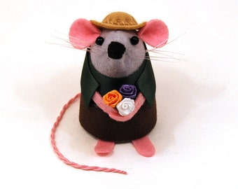 Gardener Mouse - collectable art rat artists mice felt mouse cute soft sculpture toy stuffed plush doll gift for gardener mom dad - Buddy