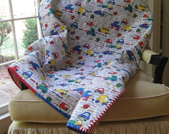 SALE -- Little Boys Love Cars and Trucks Baby Quilt