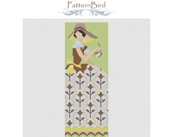 Deco girl with flower. Instant Download PDF Cross Stitch Pattern