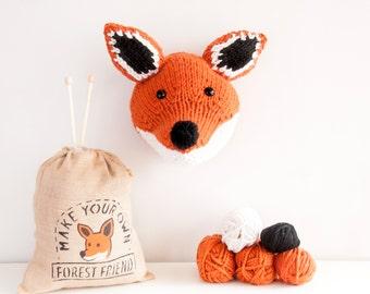 Faux Fox Knitting Kit - Make Your Own Forest Friend - DIY Taxidermy Trophy Head Pattern