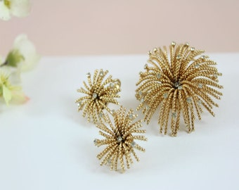 Jewelry Set Vintage Bergere Brooch/Pin and Clip on Earing, Gold and Rhinestone Jewelry, Signed, Starburst, Fireworks