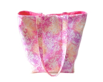Pink Batik Tote Bag, Pink Purse, Handmade Handbag, Fabric Bag, Batik Purse, Floral Purse, Cloth Purse, Shoulder Bag