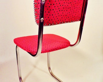 Mid Century Kitchen Chairs - Retro Recovered Chrome Chairs - Red Eyelet and Black