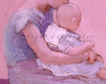 Mother and baby greeting card 5x7 child, Mom, lavender, purple, pink, blue, Mother's Day, mother and child, woman holding her baby,