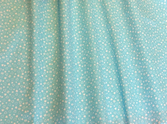 High quality cotton poplin, hearts and clover on light turquoise