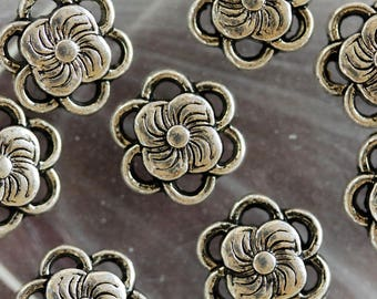 set of 2 silver metal flower disc beads