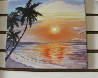 OriginaL PAINTING oN cANVAS- Tropical Sunset -  hOME  & office Decor-  Puerto Rico-Free Ship In U.S.A