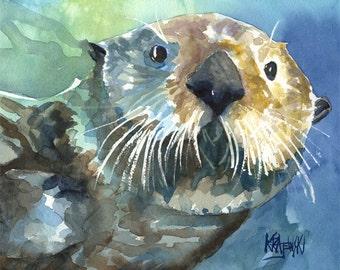 Sea Otter Art Print of Original Watercolor Painting - 8x10