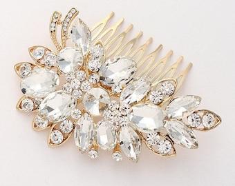 Gold Bridal Hair Comb, Gold Rhinestone Wedding Hair Piece, Bridal Gold Headpiece, Gold Statement Hair Comb Vintage Old Hollywood Wedding