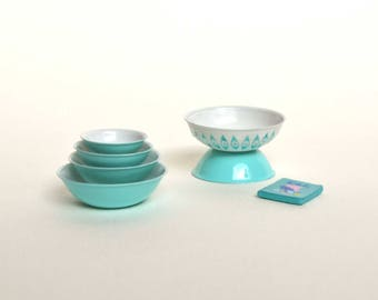 Turquoise Pyrex Mixing Bowls Set - Dollhouse Miniature Kitchen Set of 4 Nesting Bowls