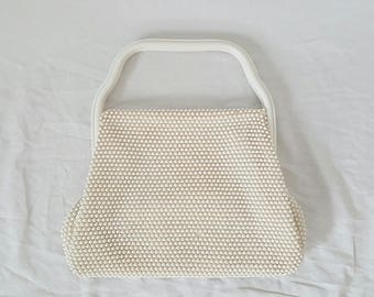 White Beaded Purse with Plastic Handle - Vintage Top Handle Purse